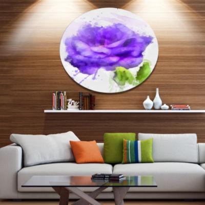 Designart Blue Rose Flower with Paint Splashes Large Floral Metal Artwork