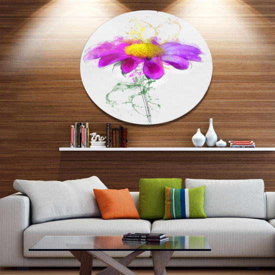 Designart Purple Daisy Flower with Stem OversizedFloral Metal Round Artwork