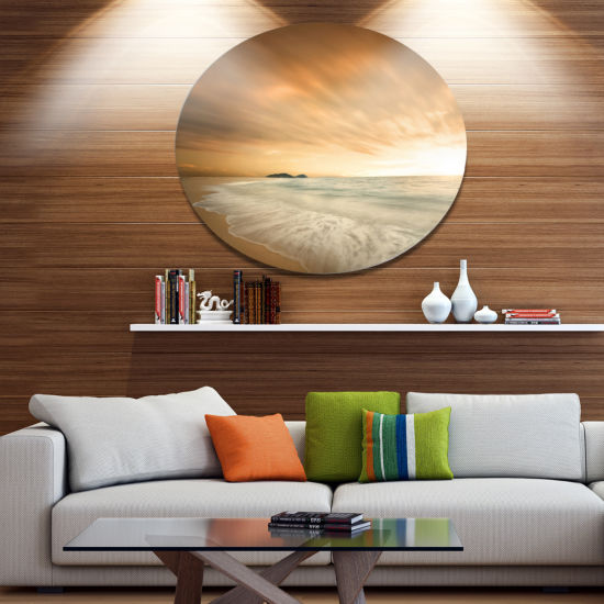 Designart Beautiful Brown Beach at Sunset Disc Large Beach Large Metal Circle Wall Art