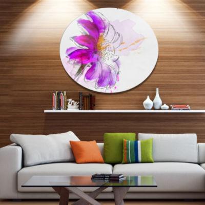 Designart Purple Watercolor Gerbera IllustrationFloral Metal Round Wall Decor