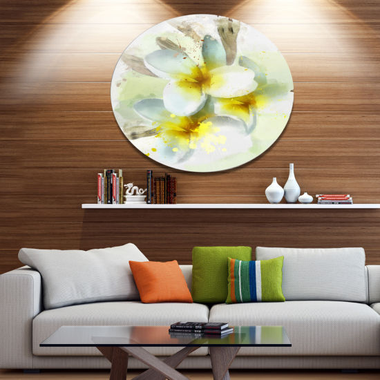 Designart Frangipani Flowers Watercolor Floral Metal Round Wall Decor