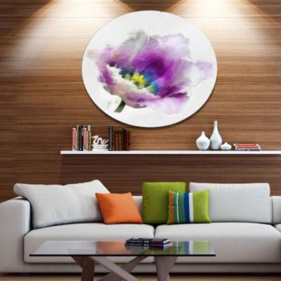 Designart Purple Watercolor Tulip Flower Floral Metal Round Wall Decor