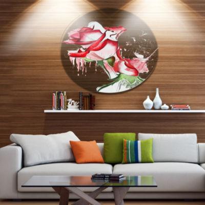 Designart Fantastic Red Roses Watercolor Floral Metal Round Wall Decor