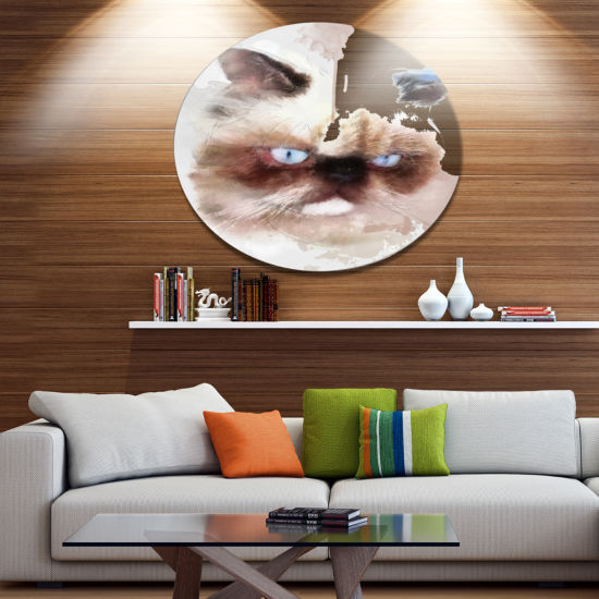 Designart Angry Brown Watercolor Cat Sketch AnimalMetal Round Wall Decor