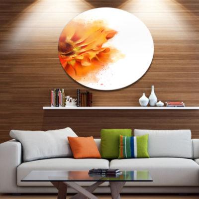 Designart Beautiful Yellow Flower Watercolor DiscFlowers Large Metal Circle Wall Artwork