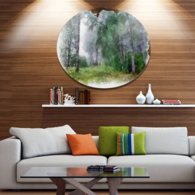 Designart Green Forest Watercolor Drawing Oversized Large Landscape Aluminium Wall Art