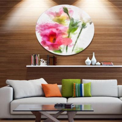 Designart Hand drawn Pink Watercolor Flower FloralMetal Round Wall Decor