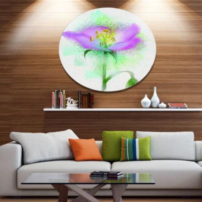 Designart Beautiful Purple Watercolor Flower Oversized Floral Aluminium Wall Art