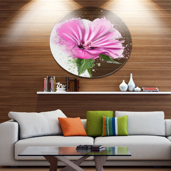 Designart Full Bloom Pink Flower with Leaves Oversized Floral Aluminium Wall Art