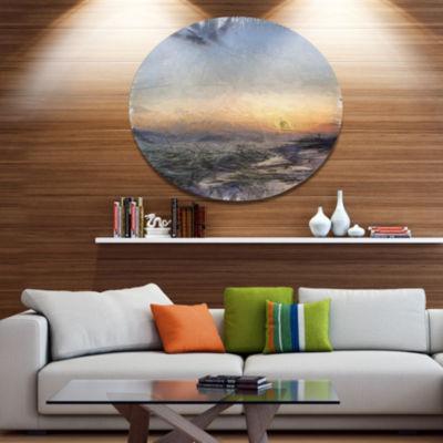 Designart Colorful Dawn over Sea Watercolor Landscape Metal Round Wall Decor
