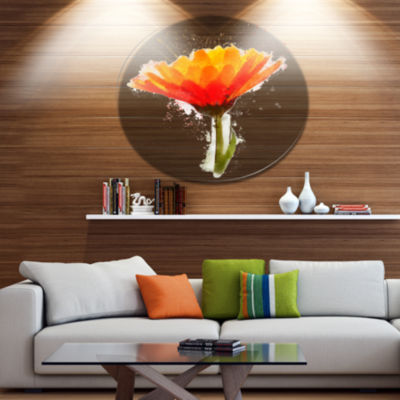 Designart Yellow Watercolor Coreopsis Flower Floral Metal Round Wall Decor