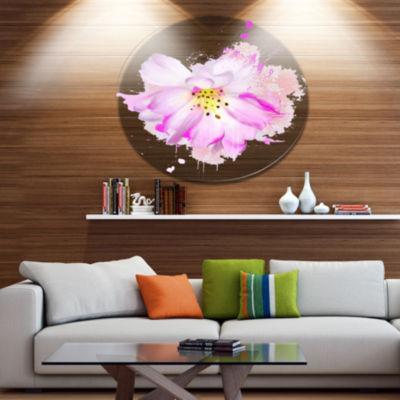 Designart Watercolor Pink Rose Illustration Oversized Floral Aluminium Wall Art
