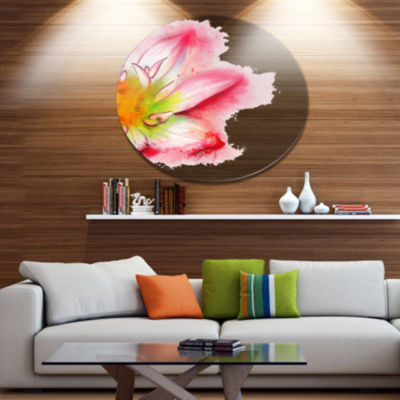 Designart Beautiful Pink Flower Painting Large Floral Metal Artwork