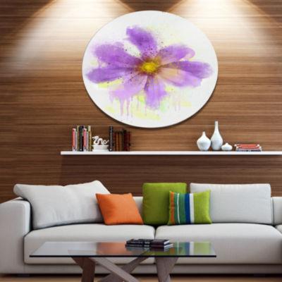 Designart Purple Flower with Large Petals Oversized Floral Metal Round Artwork