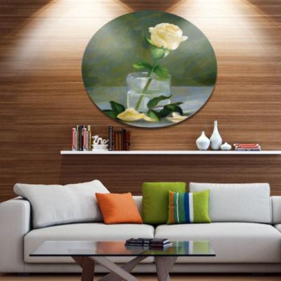 Designart Rose Flower in Glass Watercolor FloralMetal Round Wall Decor