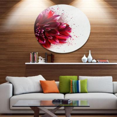 Designart Dark Red Watercolor Rose Flower FloralMetal Round Wall Decor
