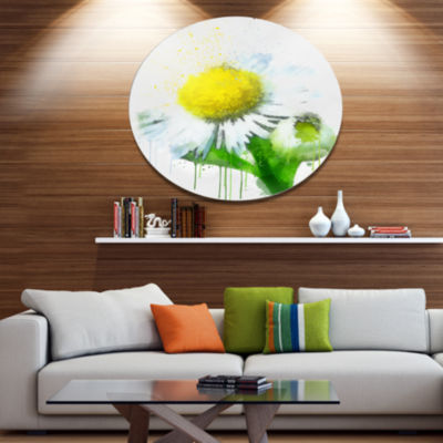 Designart Yellow Chamomile Sketch Watercolor Floral Metal Round Wall Decor