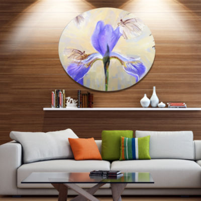 Designart Blue Flower with Butterflies Sketch Floral Metal Round Wall Decor