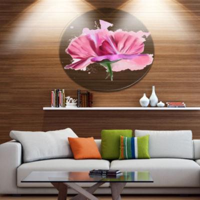 Designart Hand drawn Pink Rose Watercolor FloralMetal Round Wall Decor