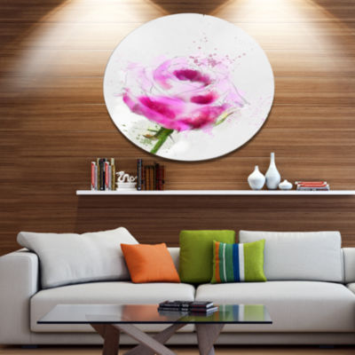 Designart Purple Rose Sketch Illustration FloralMetal Round Wall Decor