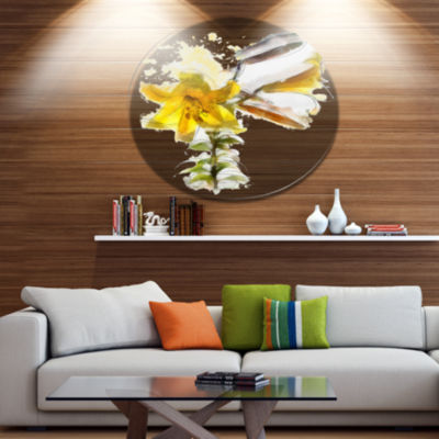 Designart Yellow Tulip Stem with Leaves Floral Metal Round Wall Decor
