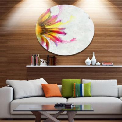 Designart Large Sunflower Sketch Watercolor FloralMetal Round Wall Decor