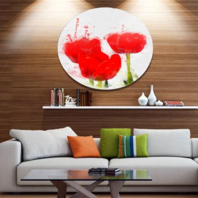 Designart Bright Red Tulip Flowers with SplashesFloral Metal Round Wall Decor