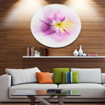 Designart Purple Flower Sketch with Splashes Floral Metal Round Wall Decor