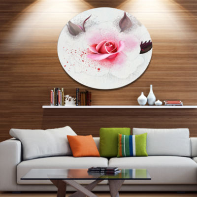 Designart Watercolor Rose with Brown Buds FloralMetal Round Wall Decor