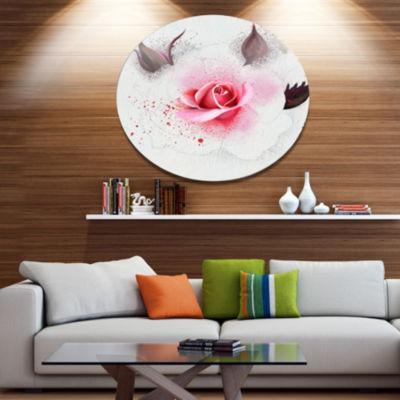 Designart Watercolor Rose with Brown Buds FloralMetal Round Wall Decor