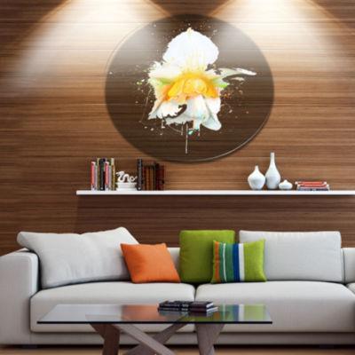 Designart White Narcissus Flower Watercolor FloralMetal Round Wall Decor