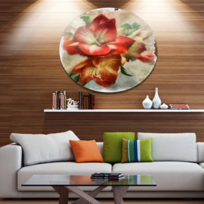 Designart Bunch of Amaryllis Floral Drawing Oversized Floral Aluminium Wall Art