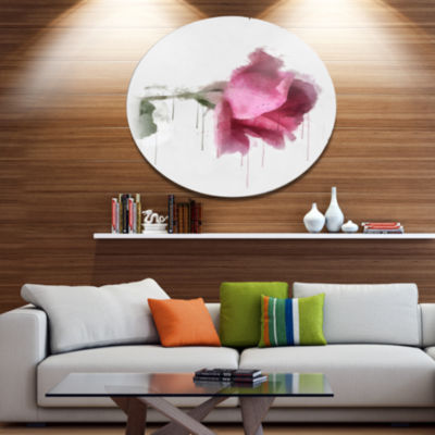 Designart Beautiful Rose Watercolor Drawing FloralMetal Round Wall Decor