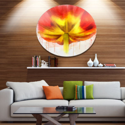 Designart Large Red Yellow Flower Watercolor LargeFloral Metal Artwork