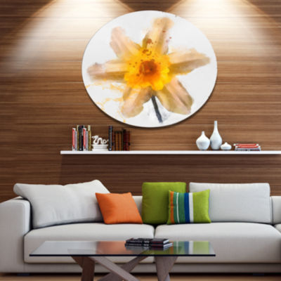 Designart Yellow Narcissus Sketch Watercolor Floral Metal Round Wall Decor