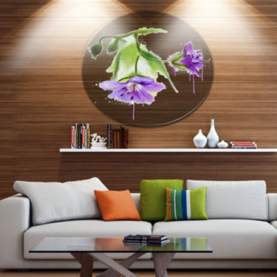 Designart Beautiful Blue Flowers with Stem LargeFloral Metal Artwork