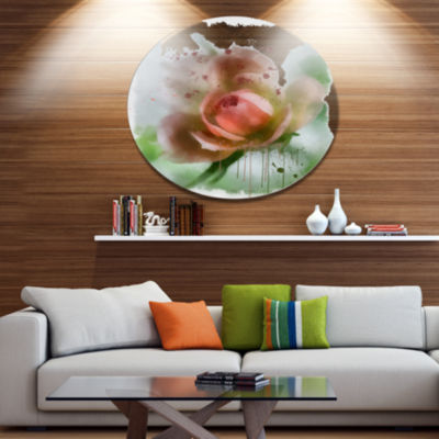 Designart Pink Flower on Green Background FloralMetal Round Wall Decor