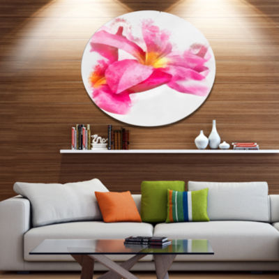 Designart Beautiful Flowers with Big Pink PetalsFloral Metal Round Wall Decor