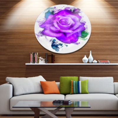 Designart Hand made Purple Rose Watercolor Oversized Floral Aluminium Wall Art
