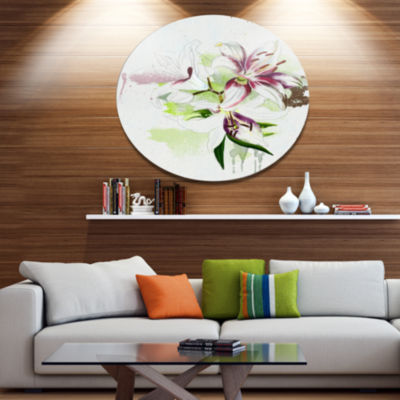 Designart Colorful Flowers with Color Splashes Floral Metal Round Wall Decor
