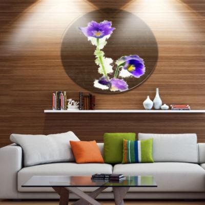 Designart Purple Liverleaf Flower Watercolor Floral Metal Round Wall Decor