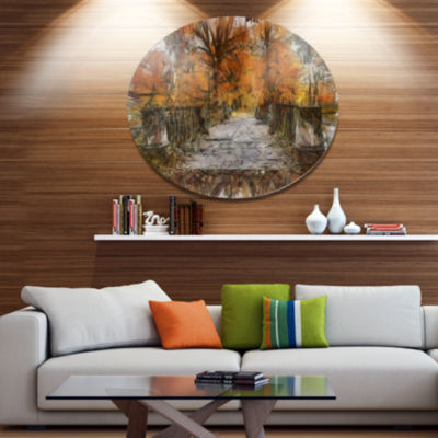 Designart Beautiful Watercolor Autumn Forest Landscape Metal Round Wall Decor
