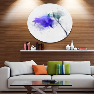 Designart Blue Flower Stem with Color Splashes Floral Metal Round Wall Decor