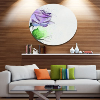 Designart Beautiful Blue Rose with Leaves FloralMetal Round Wall Decor
