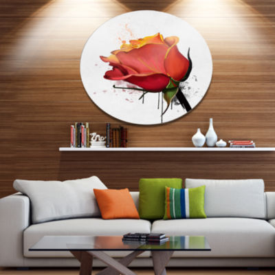 Designart Isolated Red Rose Watercolor Sketch Floral Metal Round Wall Decor