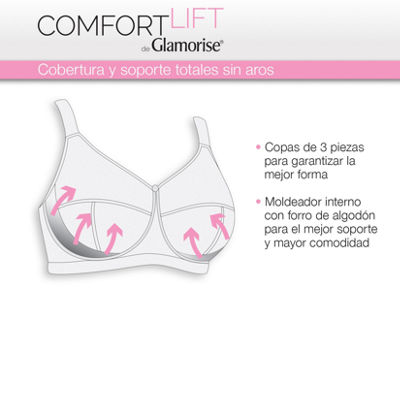 Glamorise Comfort Lift Rose Lace Support Wireless Full Coverage Bra-1104