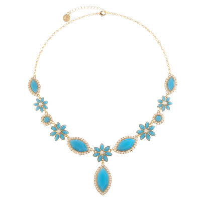 Liz Claiborne Womens Blue Flower Y Necklace
