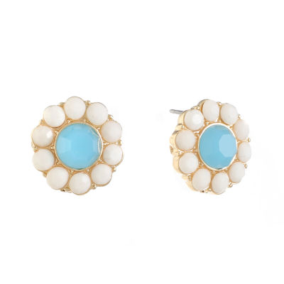 Liz Claiborne Blue 16mm Round Stud Earrings