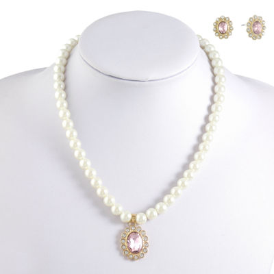 Monet Jewelry Womens Simulated Pearl Gold Tone 2-pc. Jewelry Set