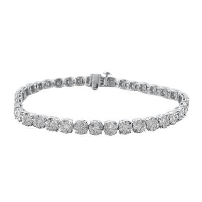 Diamond Blossom 10K Gold 7.25 Inch Link Bracelet